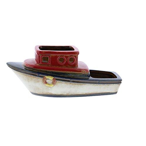 Benzara Vintage Inspired Ceramic Boat Planter, Multicolor