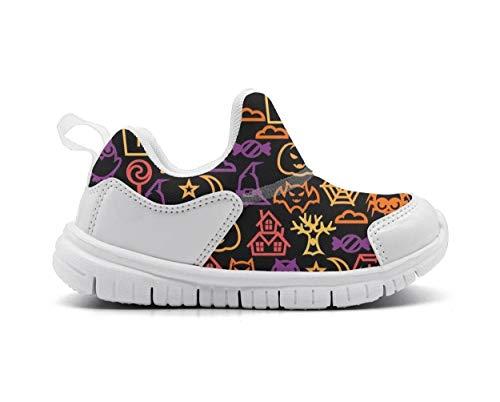 (ONEYUAN Children Happy Halloween cat owl Black Kid Casual Lightweight Sport Shoes Sneakers Running)