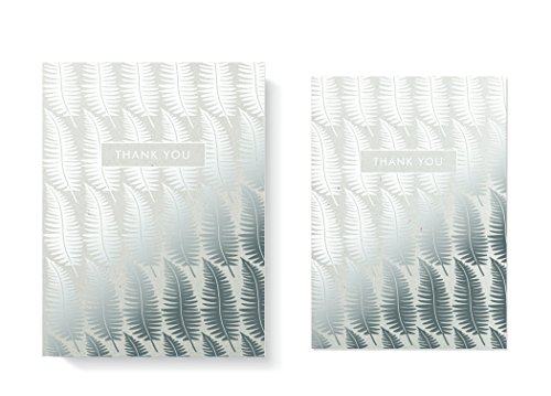 FRINGE STUDIO Silver Ferns Boxed Thank You Notes, 4.125''x6'', 8 Cards & Envelopes (909002) by Fringe Studio