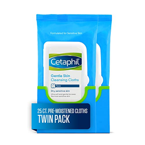 Cetaphil Gentle Skin Cleansing Cloths, 50 Count (Best Cleansing Oil For Sensitive Skin)