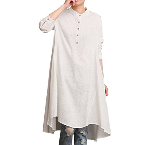 Cotton Linen Long Sleeve Loose Blouse Tops Shirt Baggy Pullover Blouse (L, White) (Long Linen Pullover)