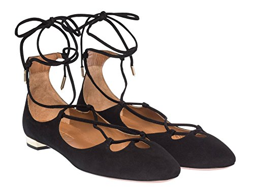 AQUAZZURA Ballerine Pelle di Camoscio Nero - Codice Modello: DANFLAA0 Sue 000 - Taglia: 40 IT