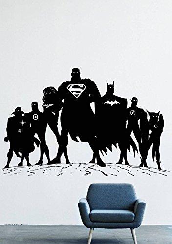 [Wall Decals Decor Vinyl Batman Superhero DC Comics Costume Mask Bat Flash Superman Wonder Woman Doctor Strange Green Lantern GMO0535] (Superman Other Costumes)