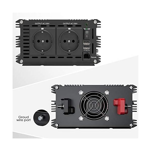 417ae0316ML EDECOA Wechselrichter reiner sinus 1500w Spannungswandler 12V 230V 2x USB und Fernbedienung Spannungswandler Reiner…