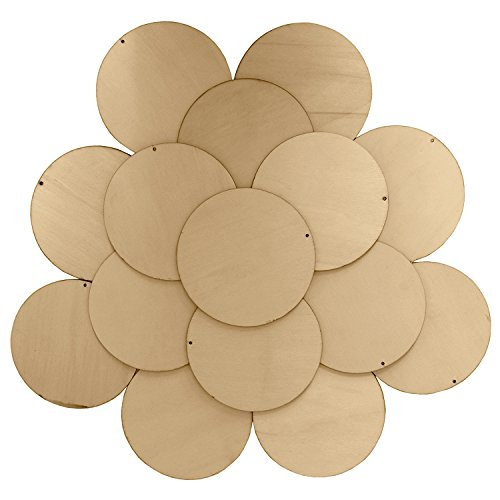 Kurtzy 50 Piece 10cm Unfinished Wood Discs / Unfinished Natural Wood Slices with Holes  DIY Wood Hanging, Painting and Birthday Board Tags - Large Bulk Set of Discs for Arts and Crafts