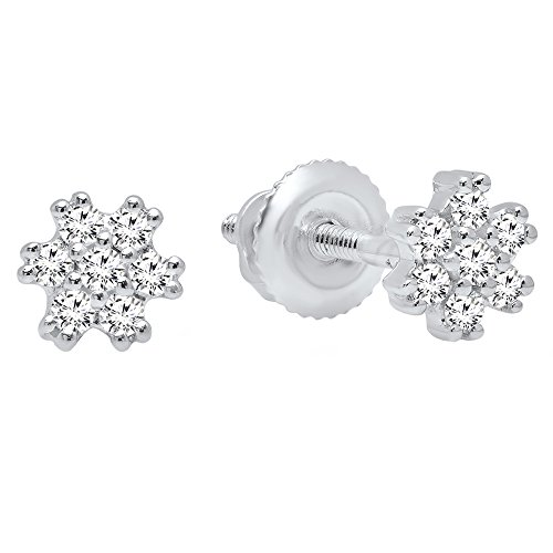 Dazzlingrock Collection 0.15 Carat (ctw) 14K Round White Diamond Ladies Flower Cluster Earrings, White Gold