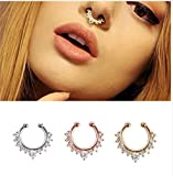 Tvoip 6PCS Septum Fake Nose Ring Jewelry,Women