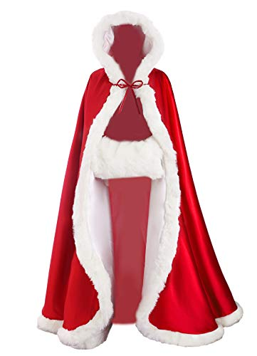 Wedding Cape Hooded Cloak for Bride Winter Reversible with Fur Trim Free Hand Muff Full Length ()