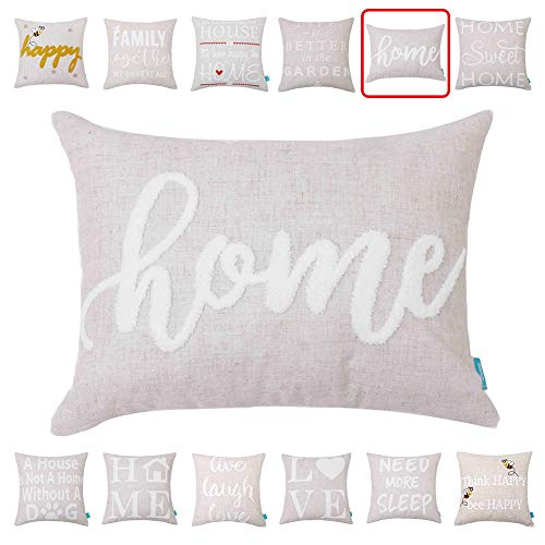 Embroidery Throw Pillow Covers Quotes Decorative Pillow Covers with Quotes Family 12x16 Cushion Covers Sweet Home Quote Pillow Cover for Couch Sofa Farmhouse ()