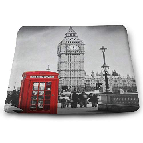 Seat Cushion Retro Red Telephone Booth Big Ben London Chair Cushion Designer Offices Butt Chair Pads for Cars