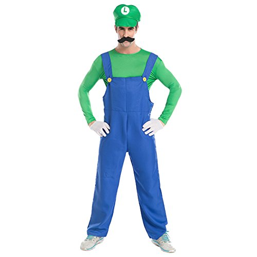 Whole Halloween Costumes - Quesera Men's Super Mario Costume Adult Cosplay Costume Mario Brothers Halloween Costume, Green, XL