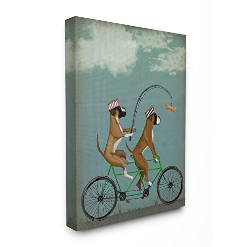 The Stupell Home Decor Collection Boxer Dogs Share a Bicycle Stretched Canvas Wall Art, 16x20, Multicolor