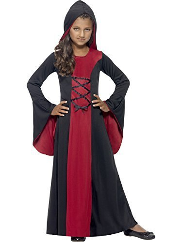 Bride Costume Ideas (Smiffy's Big Girls' Vampire Costume Hooded Halloween Fancy Dress 10-12 Years Red And Black)