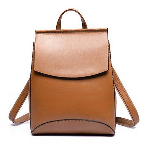 Damen luxuriös PU Leder Rucksack Schulrucksack schöne kleine Tasche neue Mode rund einzigartig Design (silber) weiß mp5LfILmG