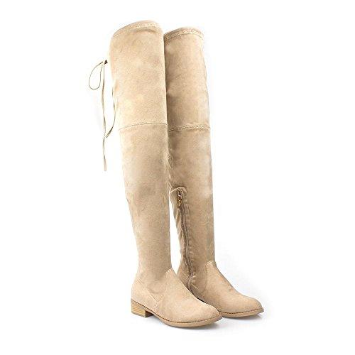 Boot Heel Tie lydia The Flat Over Back BEIGE SUEDETTE Women Knee Ladies Block qwxv6ISCw