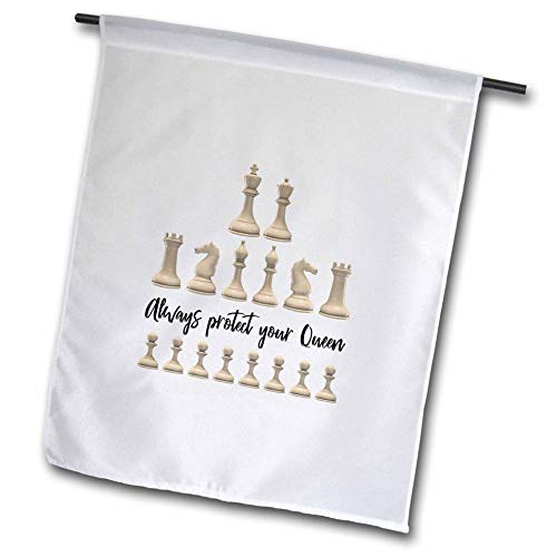 3dRose Alexis Design - Sport Chess - Set of Black Chessmen and a Text Always Protect Your Queen - 18 x 27 inch Garden Flag (fl_302157_2)