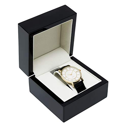 Noble Black Piano Wood Watch Jewelry Box with Two Piece Packer with Ribbon for Engagement, Proposal, Wedding Gift or Special Occasions from Noble