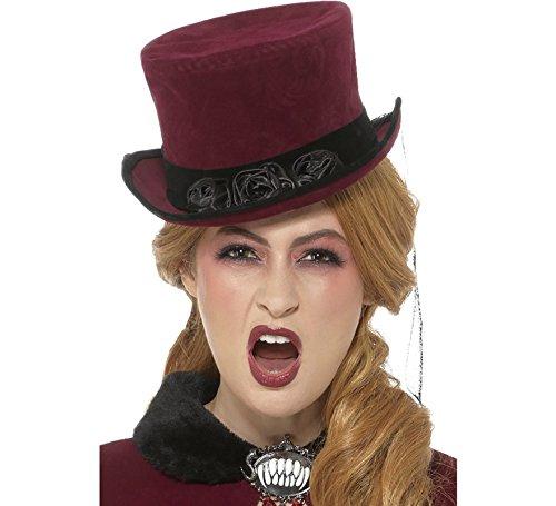 Smiffy'sDeluxe Victorian Vampiress Hat, Burgundy/Black, one