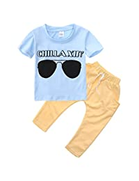 Baby Boys Short Sleeve Sunglasses Print T-shirt and Elastic Pants Outfit