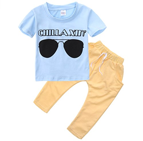 Baby Boys Short Sleeve Sunglasses Print T-shirt and Elastic Pants Outfit - Brands Baby Glasses