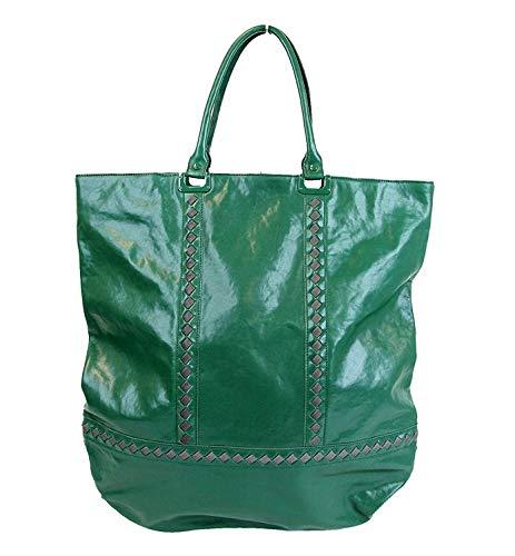Bottega Veneta Unisex Green Leather Woven Detail Tote Bag 296558