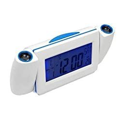 UNAKIM--NewDigital LED Dual Laser Wall Projector Projection Alarm Time Clock Temperature (blue)