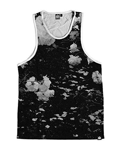 (INTO THE AM Black Rose Men's Sleeveless Tank Top Shirt (Small))