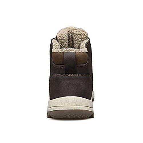 Escursionismo Scarpe da Marrone happygo Sneakers Inverno Impermeabili Outdoor Uomo da Pelliccia Stivali Neve Nero Trekking Marrone YWwW08Hp1q
