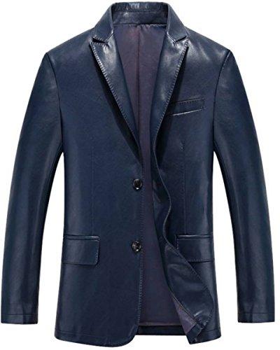 - brandMe Men's Leather Blazer Genuine Soft Lambskin Leather Coat Jacket BB22 (Large) Blue