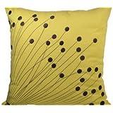ArtoutletMF Pillow Cover, Decorative Pillow, Throw Pillow, Couch Pillow, Yellow Linen Pillow Dark Brown Flower Embroidery, Pillow Accent, Modern Pillow by ArtoutletMF