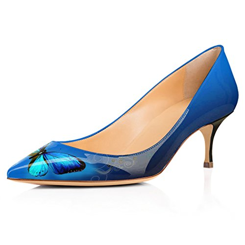 YCG Women's Low Heels Pumps Blue Butterfly Printing Pleather Comfort Slip on Shoes US 7