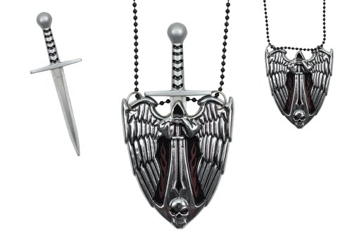 Silver Evil Angel Necklace with Hidden -