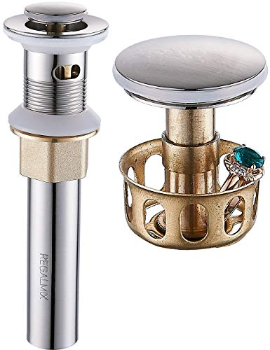(REGALMIX Vessel Sink Drain, Bathroom Faucet Vessel Sink Pop Up Drain Stopper, Built-In Anti-Clogging Strainer, Brushed Nickel with Overflow,Fits Standard American Drain Hole(1-1/2