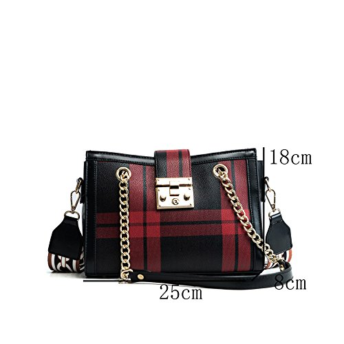 Fashion Handbag Bag Trend Messenger Width Shoulder Shoulder Dhfud Woman Bag Blackandgreengrid w0qxXS