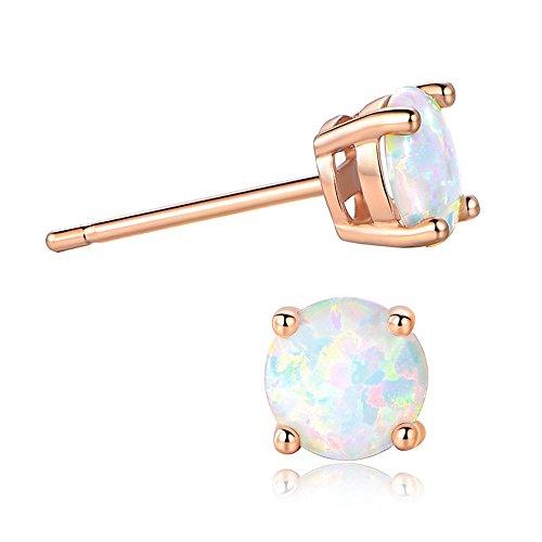 Opal Earrings Women-FINEFEY 14K Gold Plated Created Opal Stud Earrings