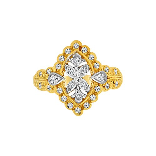 Byzantine White Gold Ring (14k Yellow Gold White Rhodium, Fancy Byzantine Filigree Ring Lab Created CZ Crystals)