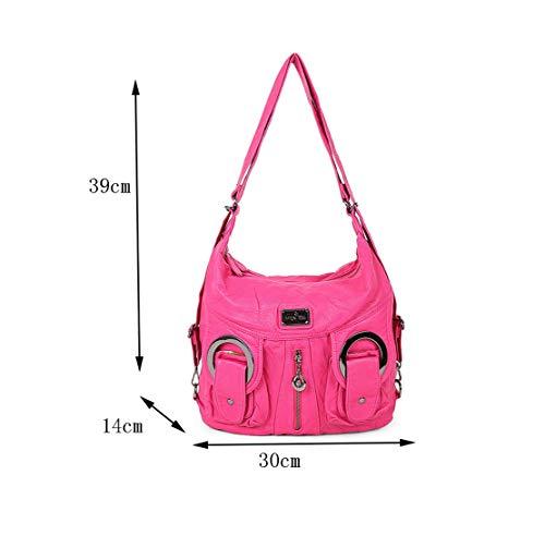 Pu Cuero Handbag Multiusos Desgaste Bandolera Bolso Vintage Totalizador De Bandoleras Mujer Negro Impermeable Al Resistente Layxi aCqwHt