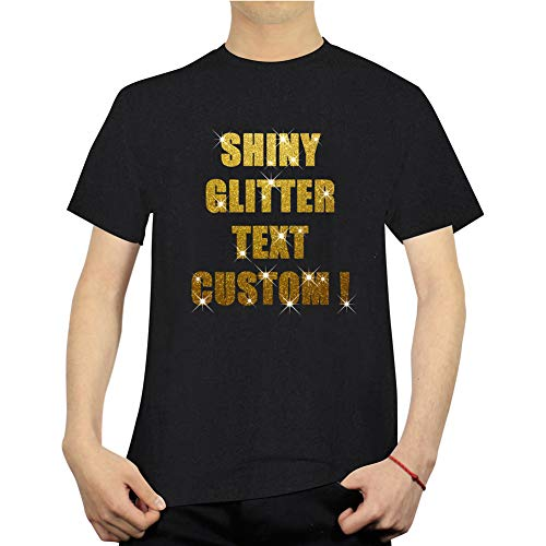 Unisex Custom T Shirts Personalized 100% Cotton Tee Design Your Own Text with Bling Glitter HTV, Not Printing Black