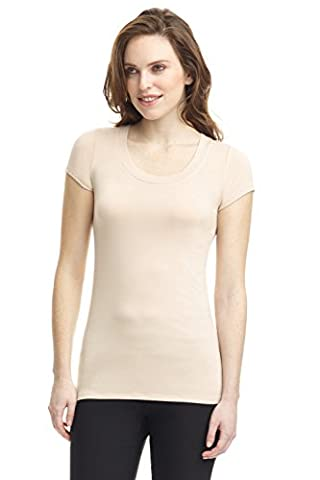 Rekucci Women's Perfectly Soft Basic Fitted Short Sleeve Scoop Neck Top (X-Large,New Tan) - Womens Fitted Cap Sleeve Tee