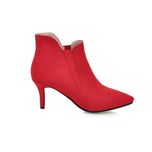Imitated Pointed Red Solid top Suede Toe High Closed Low Women's Boots AgooLar Heels p7zH11