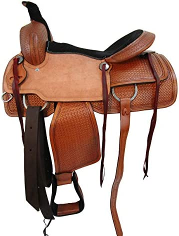 417aiNtuW%2BL. AC  - Comfy Trail Saddle Pleasure Horse TACK Hand Tooled Leather Roping Roper 15 16 17