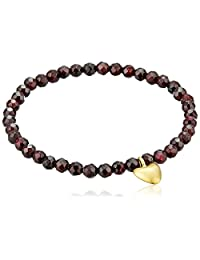 Satya Jewelry Garnet Heart Stretch Bracelet