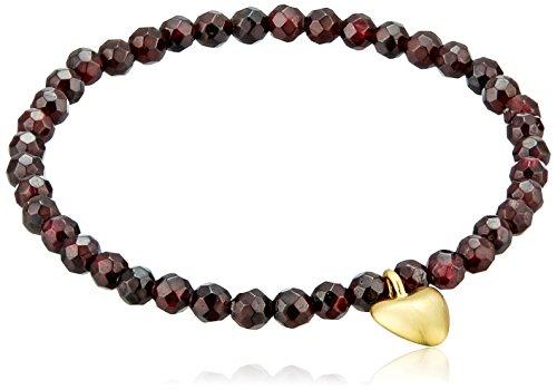 - Satya Jewelry Garnet Heart Stretch Bracelet