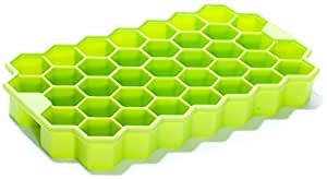 Silicone Ice Cube Tray by Deeer - 37 pc Geometric Ice Cube Maker (Green)
