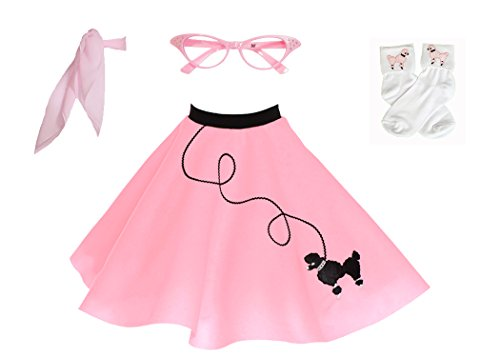 Hip Hop 50s Shop 4 Piece Child Poodle Skirt Costume Set, Size Medium Light Pink ()