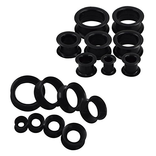 Silicone Tunnels Mixed Style Earrings Plugs Piercing Jewelry Black ()