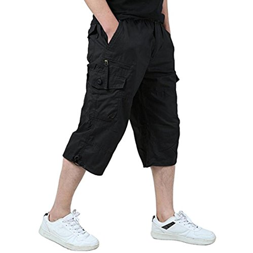 Men's Relaxed Fit Long Cargo Shorts Capri Pants Black US 38 Asian 4XL