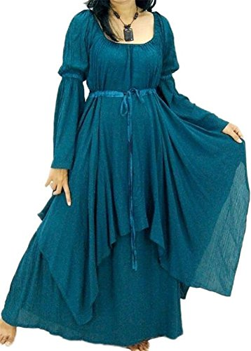 Lotustraders Dress Peasant Layer Renaissance Teal One Size A219 -