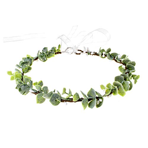 June Bloomy Greenery Leaf Crown Rustic Wedding Headpiece Bridal Headband Photo Prop (S-Leaf)