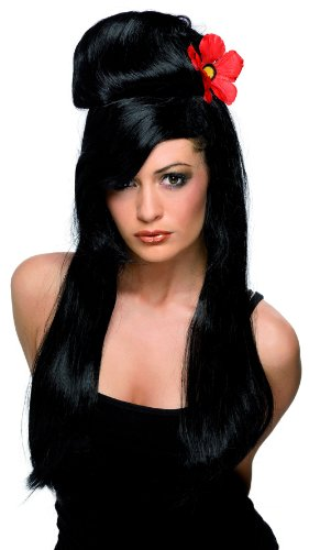 [S33512/25 Pin Up Babe Wig] (Black Beehive Wig)